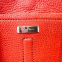 Cole Haan Pebble Leather Tote Shopper Bag. Bright Tangerine. Several Pockets Photo
