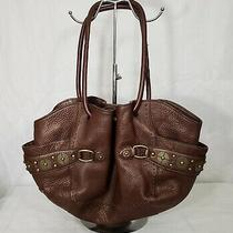 Cole Haan Pebble Leather Village Pailette Shoulder Hobo Studded Handbag Brown  Photo