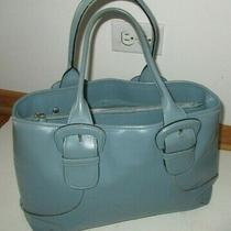 Cole Haan Periwinkle Blue Leather Satchel Handbag Large Many Sections Photo