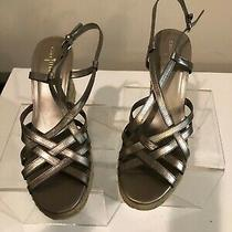 Cole Haan Pewter Leather Espadrille Wedge Sandal Size 8 1/2b Photo