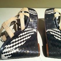 Cole Haan Platform Sandal Wedge Leather Open Toe Back Shoes Black White Bamboo 8 Photo