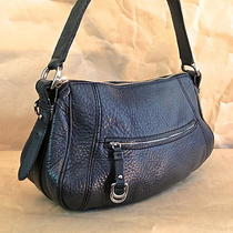 Cole Haan Purse Pebbled Thick Leather Hobo Handbag Gray Silver-Tone Hardware Photo
