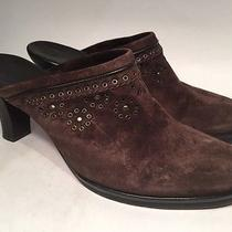 Cole Haan Shoes Mules Heels Brown Suede Leather Clogs Sz 7b Photo