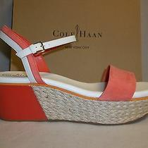 Cole Haan Size 11 M Arden Wedge Orange Pop Leather Sandals New Womens Shoes Photo