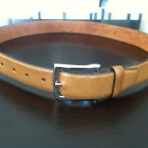Cole Haan Size 36 Beautiful British Tan Leather Belt Silver Buckle Vguc Look Photo