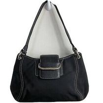 Cole Haan Small Black Leather & Nylon Hobo Purse Clutch 2120 Photo