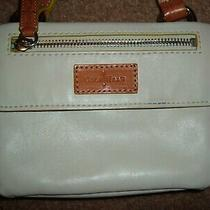 Cole Haan Small Crossbody Shoulder Leather Purse Cream Brown Blue Interior Photo