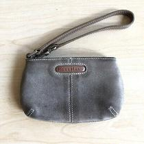 Cole Haan Suede Leather Tan Gray Wristlet Clutch Mini Small Purse Vintage Photo
