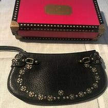Cole Haan Village Paillette Black Pebbled Leather Embellished Wristlet New Photo