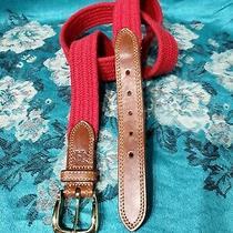 Cole Haan Vintage Leather Elastic Cotton Weave Belt Size Xl. Photo