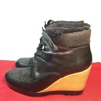 Cole Haan Wedge Boot Henson Womens Sz 8.5 Black Leather Waterproof Ankle Bootie Photo