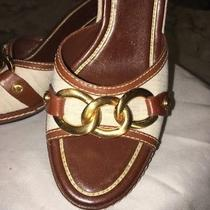 Cole Haan Wedge Slide Sandal Natural Linen Leather Size 8.5 Photo