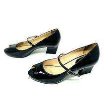 Cole Haan Women Size 8 1/2 B  Patent Leather Black Strap Shoes Peep Toe Mid Heel Photo