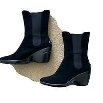 Cole Haan Womens Black Leather Waterproof Wedge Booties- Size 8 Photo