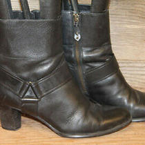 Cole Haan Womens Black Leather Zip Up Ankle Bootie/boots Sz 8 B Photo