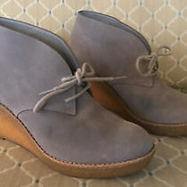 Cole Haan Womens Grey Suede Wedge Ankles Boot Shoes Size 8 Photo