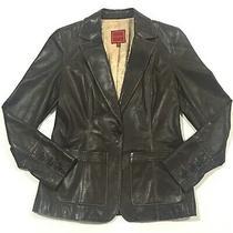 Cole Haan Womens Sz 6 Dk Brown Lambskin One Button Jacket Blazer Euc Pristine Photo