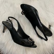 Cole Haan Womens Sz 9 B Black Patent Leather Wilma Slingback Pump Heel Peep Toe Photo