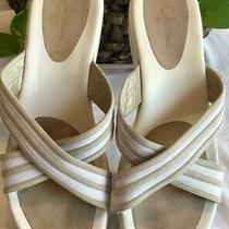 Cole Haan Womens Sz 9 G White Cream Cross Strap Slide Wedge Sandals Photo