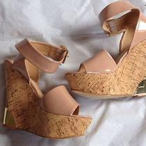 Colin Stuart Gold Plated Ankle Strap Wedge in 8.5 Blush Photo