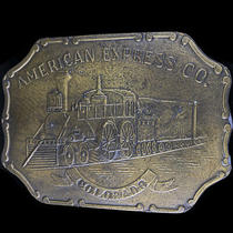 Colorado American Express Steam Engine Railroad Train 70s Vintage Belt Buckle Photo