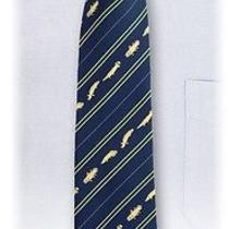 Colorata  Fossil Fish Stripe Tie Navy New Best Buy Gift Party New Don't Miss Photo