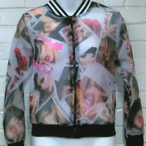 Colorful Sheer Bomber Jacket Sexy Women Models Pinup Print Size S Photo