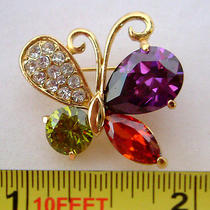 Colorful Swarovski Crystal Butterfly Brooch  Photo
