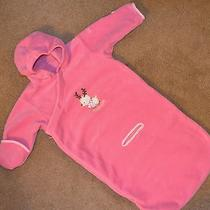 Columbia 12 Month Warm Pink Fleece Deer Bunting With Car Seat Holes Photo