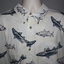 Columbia 3x Big Men's Button Shirt Short Sleeve Fishing Fish Photo