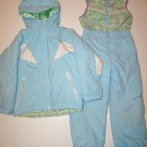 Columbia Aqua Hooded Coat Jacket/winter Ski Snow Snowsuit Pants Bibs Girls 6 6x Photo