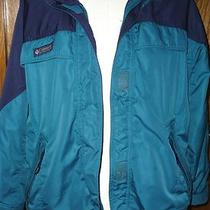Columbia Aqua Teal Navy Blue Hooded Microtex Systems Jacket Coat Size Large Photo