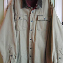 Columbia Beige Cotton Barn Jacket Coat Lined W/ Corduroy Collar Spotless Mens L Photo