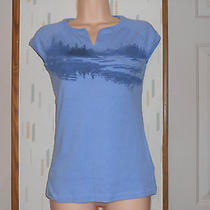 Columbia  Blue Cotton Knit Top Outdoor Lake Design capsleevessz.s Photo