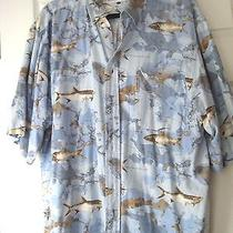 Columbia  Blue Fish -  Fishing Print Shirt-  Size L Photo