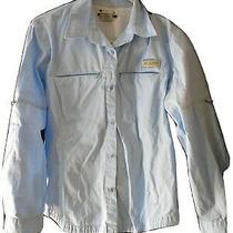 Columbia Blue Zip Pockets Vented Long Sleeve Button Down Shirt Women's Medium M Photo