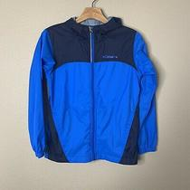 Columbia Boy's Blue Black Zip Up Long Sleeve Hooded Rain Jacket Size M Photo