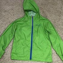 Columbia Boy's Rain Jacket Windbreaker Bright Green Hooded Size Small 8 Photo