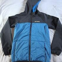 Columbia Boys Soft Shell Hooded Blue Fleece Lined Jacket Coat Sz Large 14/16 Photo