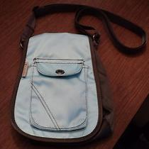 Columbia Brand Nylon Crossbody Purse Bag Taupe Aqua Textured Euc (Ac-5) Photo
