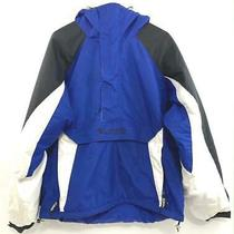 Columbia Coat Jacket Pullover Blue White Black Insulated Lined Hood Men's Size L Photo