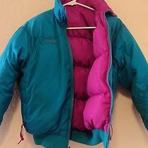 Columbia Down Puffer Jacket Radial Sleeves Pink and Blue Womens Size Medium Photo