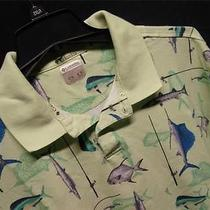 Columbia Ec  Mens Large  Lime Green  W/fish Images Fishing Polo Shirt Photo