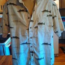 Columbia Fish Fishing Dark Beige Cotton Button Shirt Mens Xl Photo