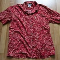 Columbia Fish Pattern Short Sleeve Button Front Shirt Xl 100% Cotton Fish Galore Photo