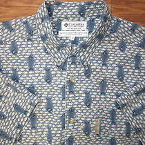 Columbia Fishes Patterns Button Down Short Sleeve Fishing Shirt Men Xl Vg Photo