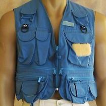 Columbia Fishing Vest Sz L Lined Blue Poly Cotton Blend 14 Pockets Game Pouch  Photo