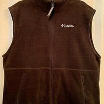 Columbia Fleece Vest Jacket Mens Size Large Brown Full Zip Up Adult Sleeveless Photo