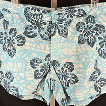 Columbia Floral Shorts Womens Blue Size10 Athletic/active/outdoor Nylon Photo