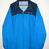 Columbia Full Zip Glennaker Lake Rain Jacket Blue Nylon Hidden Hood Mens Nwt 2xl Photo